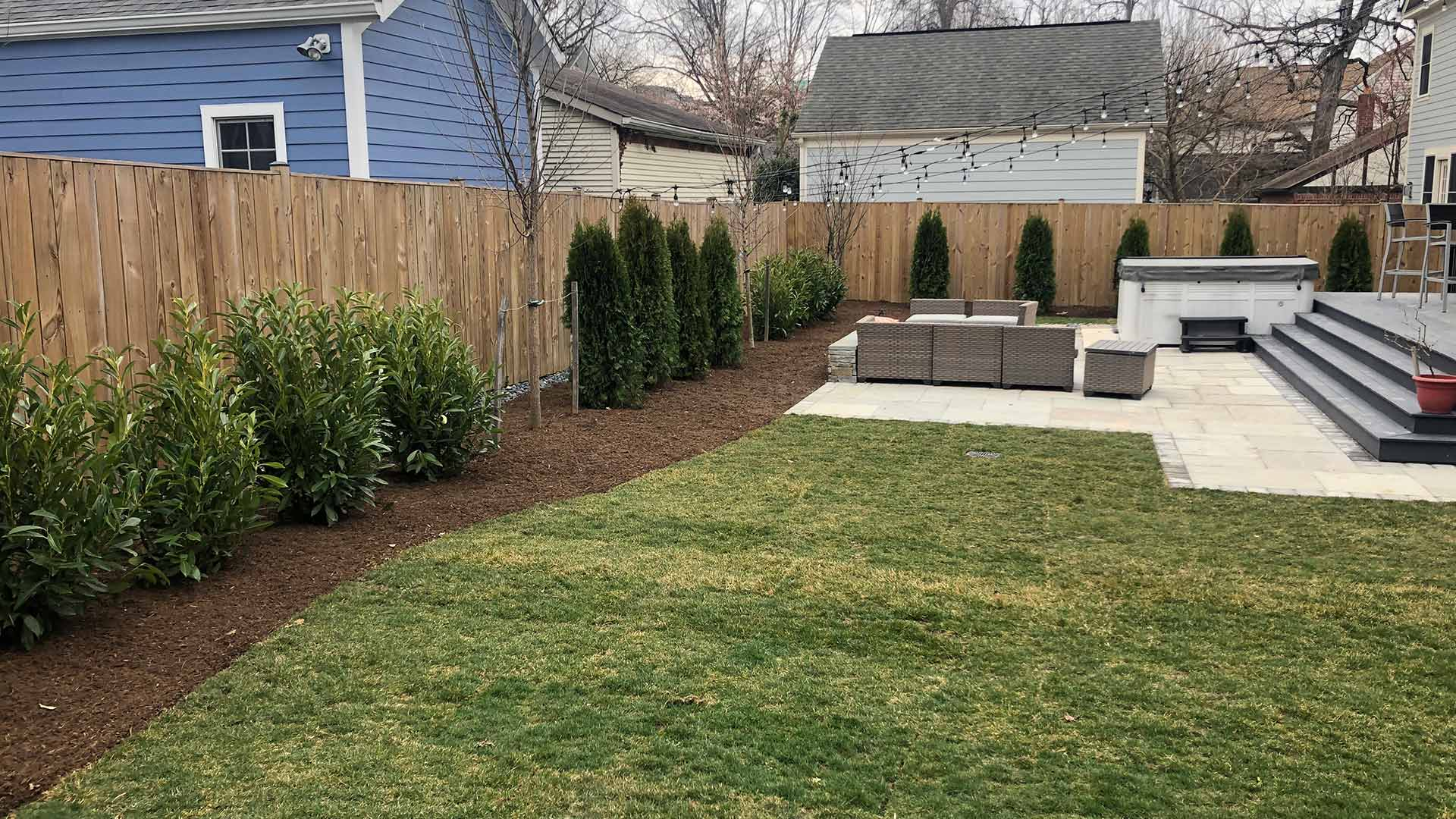 Arlington, Virginia home backyard with landscape renovation and plantings.
